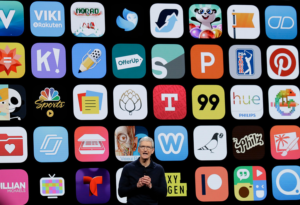 . Apple CEO Tim Cook speaks during an announcement of new products at the Apple Worldwide Developers Conference Monday, June 4, 2018, in San Jose, Calif. (AP Photo/Marcio Jose Sanchez)
