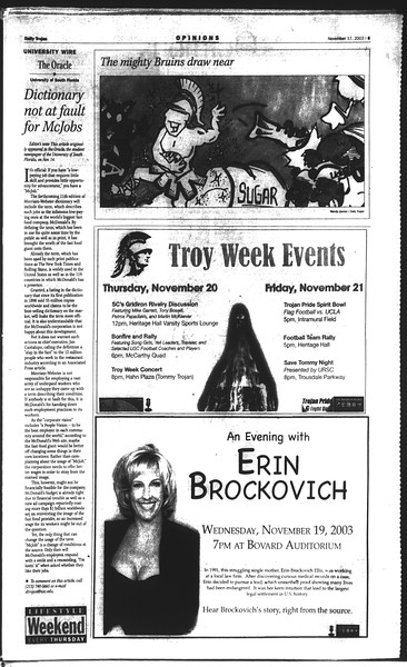 Daily Trojan, Vol. 150, No. 58, November 17, 2003