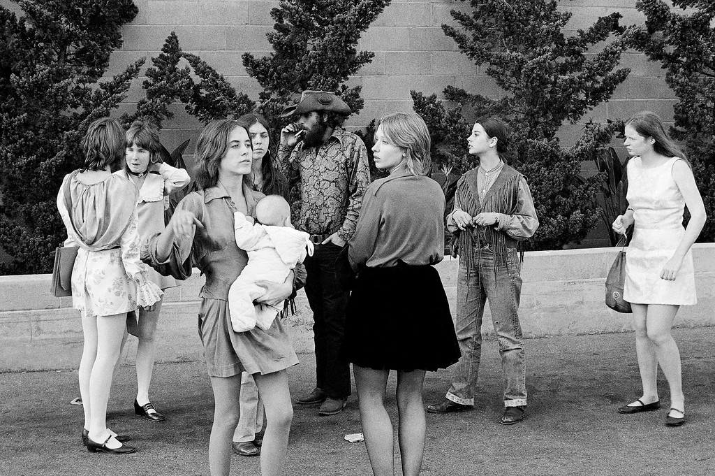 ". Young people who identified themselves as members of the Charles Manson ""family\"" leave the Hall of Justice in Los Angeles, Jan. 29, 1970 after hearing a plea of innocent entered for the hippie cult leader, who is accused of multiple murders. Some members of the group gave newsmen their names as \""Gypsy\"", \""Cappy\"" and \""Squeaky.\"" (AP Photo)"