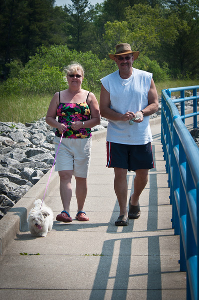 Angel, Shari, and Gary stroll along the channel.