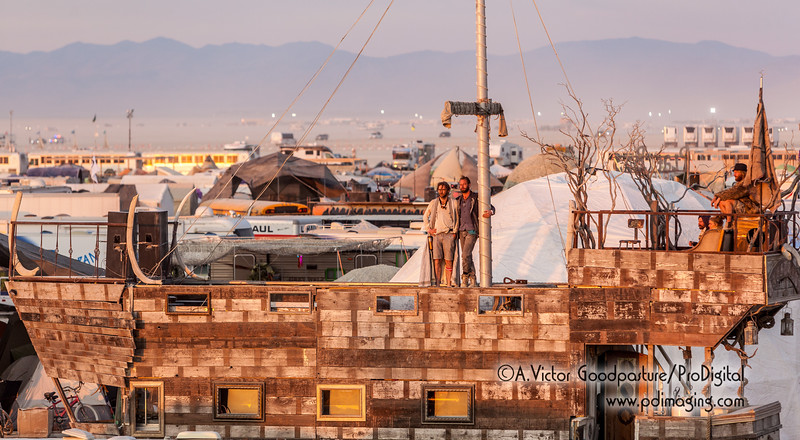 Here's something I never thought I'd write: People watching the sun rise  from a pirate ship in the middle of the Nevada desert.