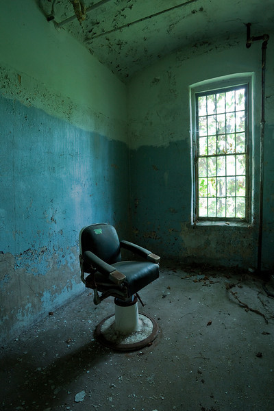 Barber's chair in the Maples building at Willard State Hospital, New York State's Asylum for the Chronic Insane.