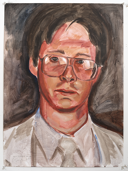 Self-portrait at 25; acrylic on paper, 22 x 30 in, 1995