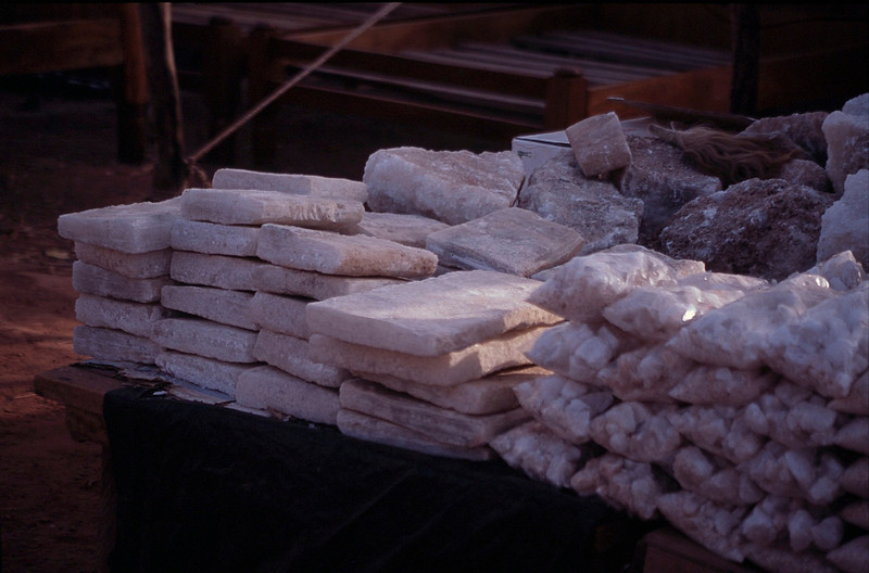 slabs of salt for sale that have been brought south from the Sahara