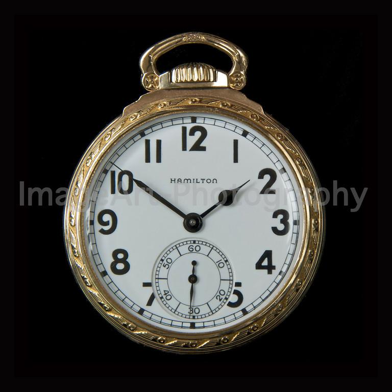Art Deco Gold Hamilton Pocket Watch with Arabic Numerals