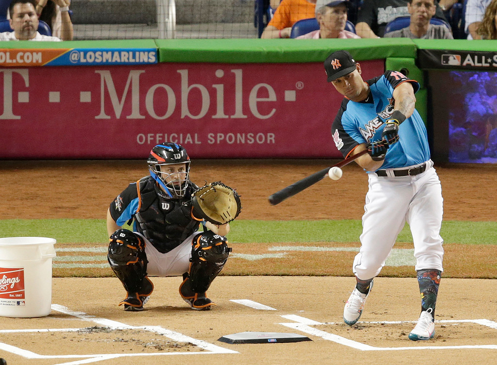 . New York Yankees\' Gary Sanchez competes during the MLB baseball All-Star Home Run Derby, Monday, July 10, 2017, in Miami. (AP Photo/Lynne Sladky)