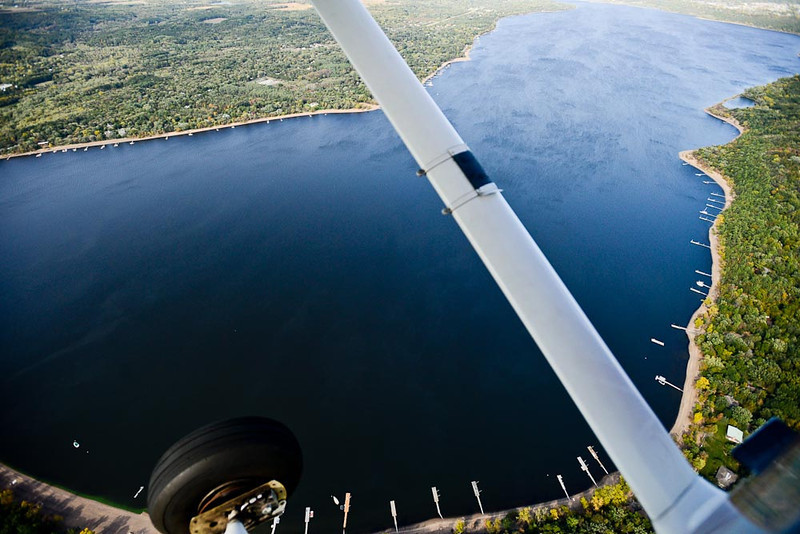 . The St. Croix River Valley, framed by a strut and a wheel of an airplane. (Pioneer Press: Ben Garvin)