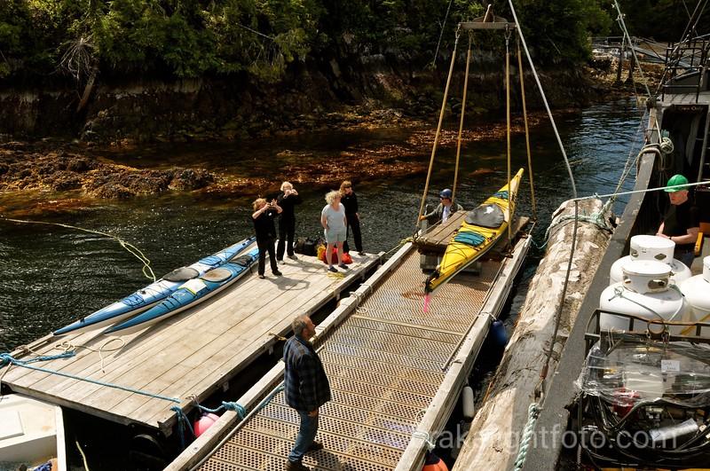 Unloading Kayakers in Esperanza Inlet