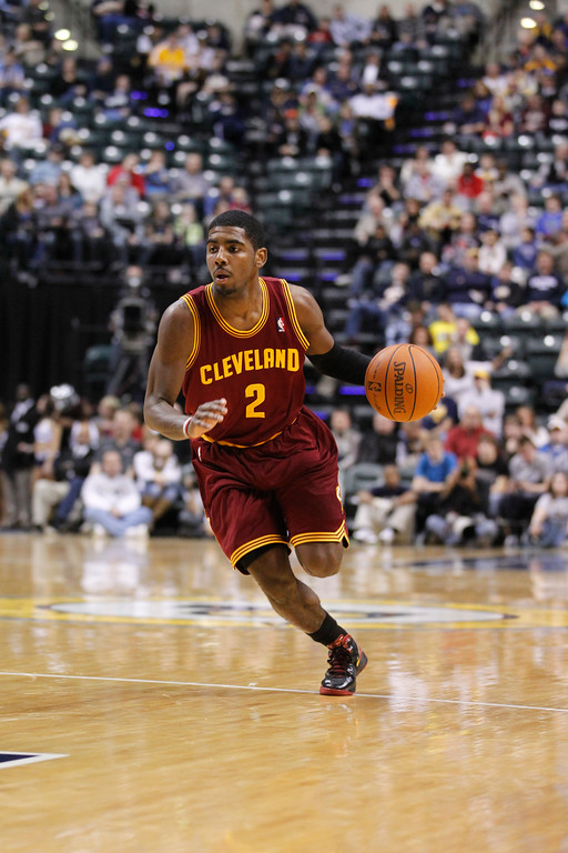 . Cleveland Cavaliers guard Kyrie Irving in the first half of an NBA basketball game against the Indiana Pacers in Indianapolis, Friday, Dec. 30, 2011.  (AP Photo/Michael Conroy)