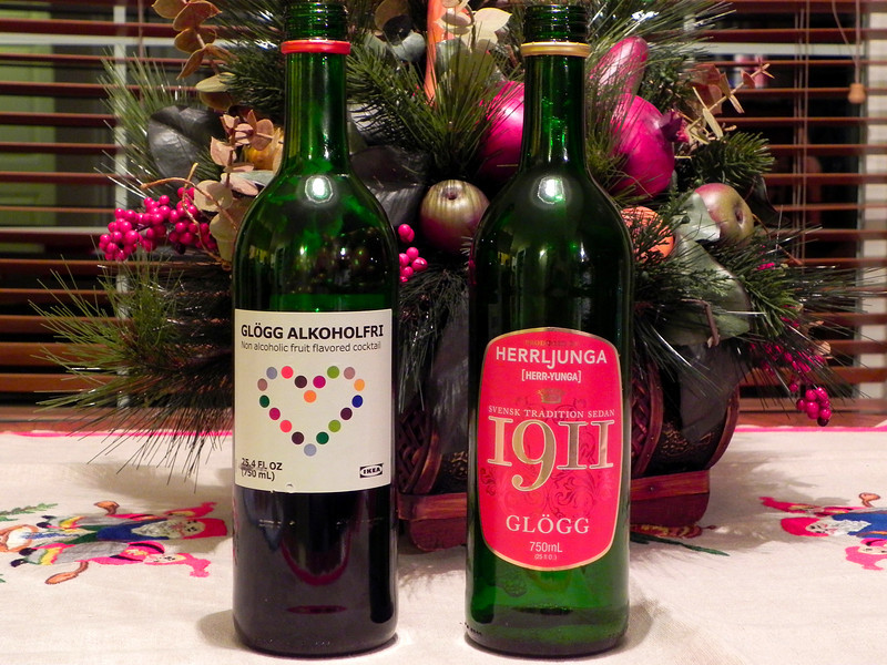 2011/12/13 - Glogg... one of my favorite holiday drinks. Both bottles are from IKEA, but the bottle on the right is a Swedish brand they brought in last year. The bottle on the left is made in Sweden for IKEA. Unfortunately the new Gloog made for IKEA is lacking in quality. It is made from fruit flavors while the 1911 has real mulled wine and fruit juices.