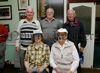 Picture are the runners up in the Senior competition at Cloughoge Pitch and Putt are, Teresa McCall, Teresa Blair, Stanley McGladery, Ted Fearon and Tom McGivern.