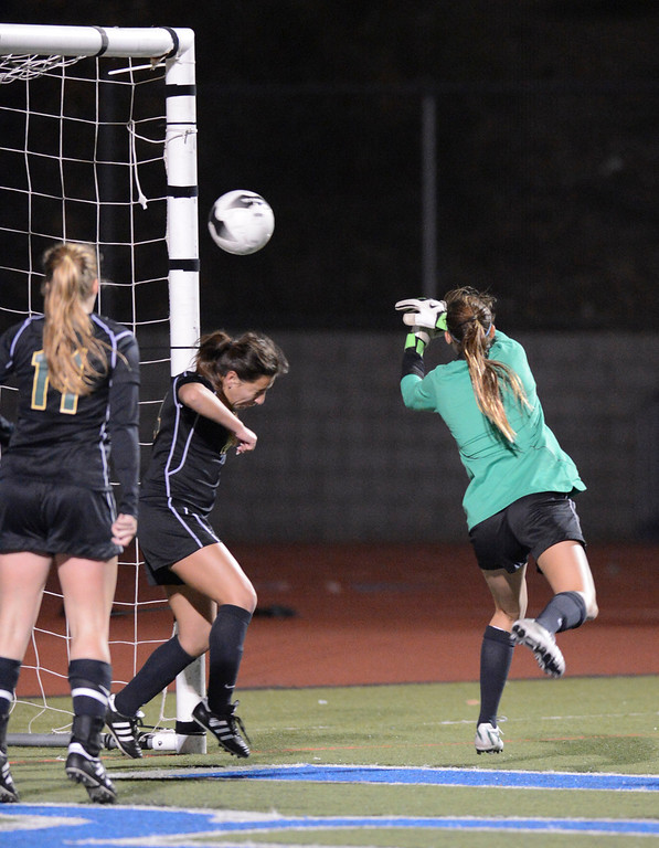 . The shot went past Mira Costa\'s Nonie Frishette for the only goal of the game during quarterfinal action.  Westlake defeated Mira Costa 1-0 in the quarterfinal.  Photo by David Crane/Staff Photographer