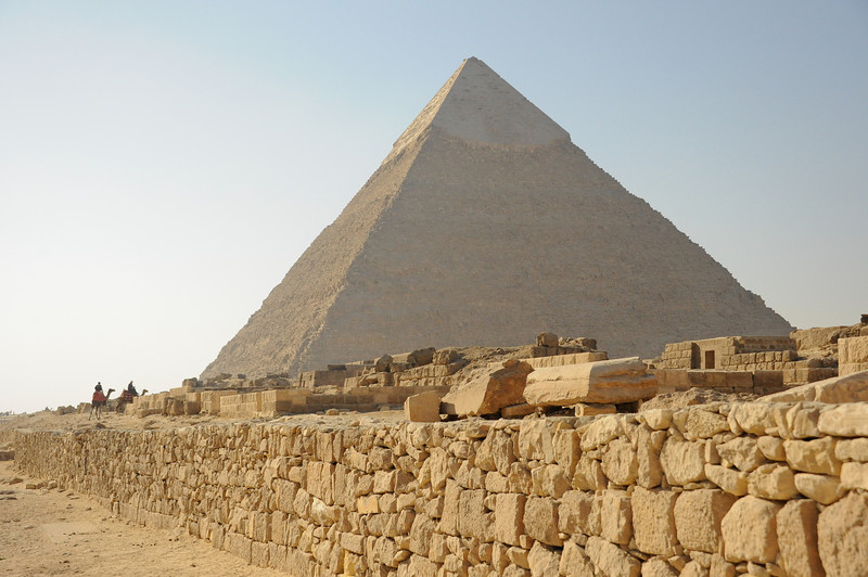 Pyramid of Khafre (son of Khufu) in background.  Tombs of lesser royalty (foreground).
