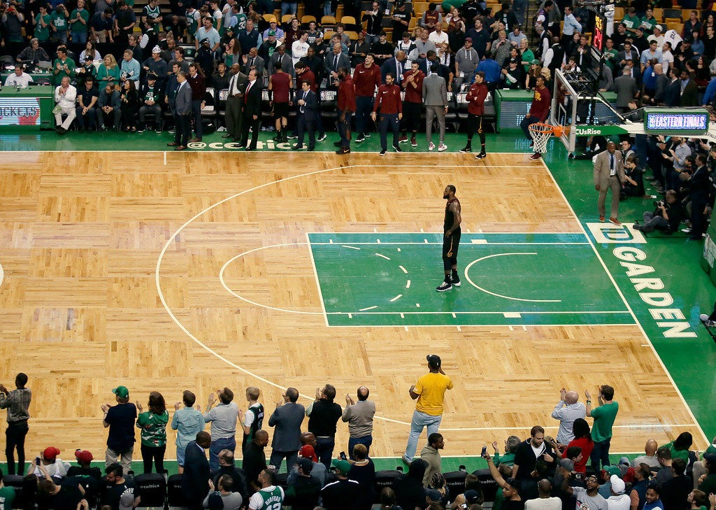 . Cleveland Cavaliers forward LeBron James stands on the court near the endd of the Game 7 of the NBA basketball Eastern Conference finals, Sunday, May 27, 2018, in Boston. (AP Photo/Charles Krupa)