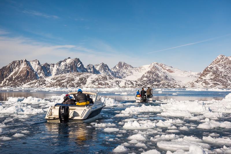 Navigating through ice 'growlers', Ammassalik Fjord, East Greenland