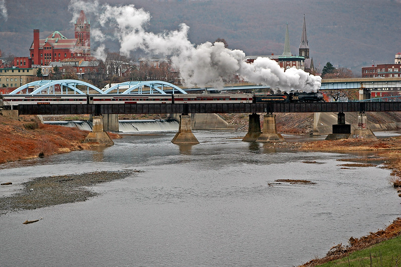 #734 steam engine crossing the Potomac River into Cumberland Western Maryland Scenic Railroad