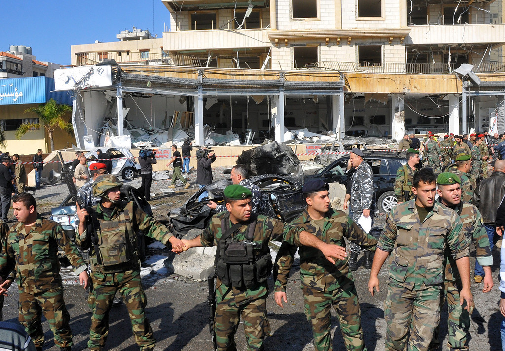 . Lebanese army soldiers secure the site of an explosion near the Iran\'s Chancellery center, in Beir Hassan area at southern suburbs of Beirut, Lebanon, 19 February 2014.  EPA/WAEL HAMZEH