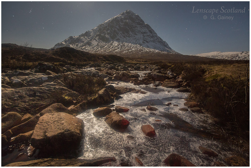 Stob Dearg and frozen River Coupall by moonlight