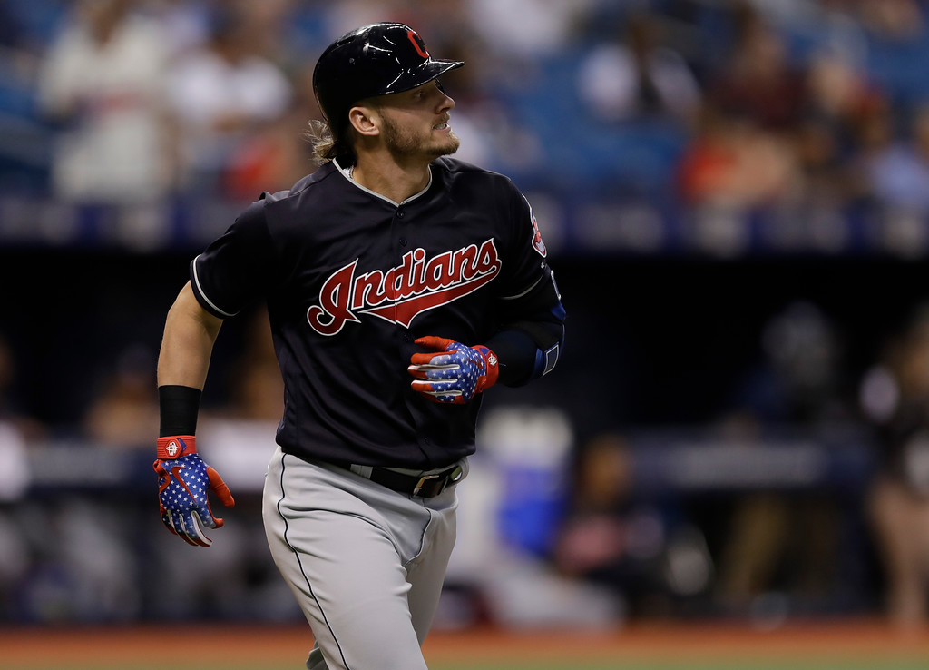 . Cleveland Indians\' Josh Donaldson flies out against the Tampa Bay Rays during the second inning of a baseball game Tuesday, Sept. 11, 2018, in St. Petersburg, Fla. (AP Photo/Chris O\'Meara)