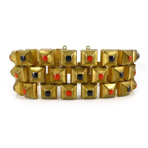Antique Art Deco Gold Metal Red & Black Enamel Geometric Panel Bracelet
