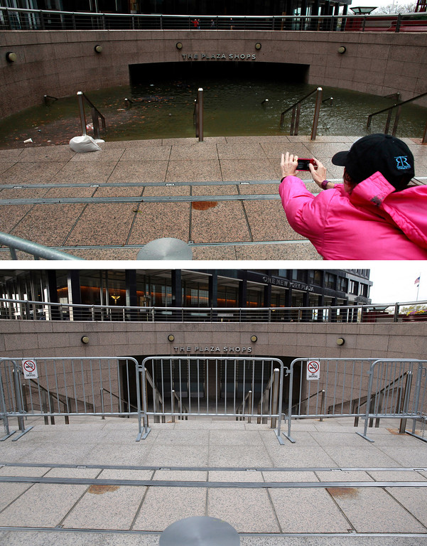 . NEW YORK, NY - OCTOBER 30: (top) Water floods the Plaza Shops in the wake of Hurricane Sandy on October 30, 2012 in New York City. (Photo by Allison Joyce/Getty Images) NEW YORK, NY - OCTOBER 22: (bottom) The underground Plaza Shops in lower Manhattan remain closed due to flooding from Hurricane Sandy almost a year after the storm on October 22, 2013 in New York City. Hurricane Sandy made landfall on October 29, 2012 near Brigantine, New Jersey and affected 24 states from Florida to Maine and cost the country an estimated $65 billion.  (Photo by John Moore/Getty Images)