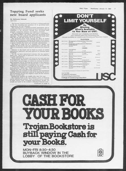 Daily Trojan, Vol. 93, No. 2, January 12, 1983