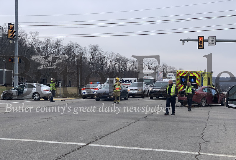 A two-car collision at the intersection of Route 228 and Franklin Road in Cranberry Township slowed a significant portion of the state route in both directions Wednesday afternoon. ALEX J. WEIDENHOF/BUTLER EAGLE