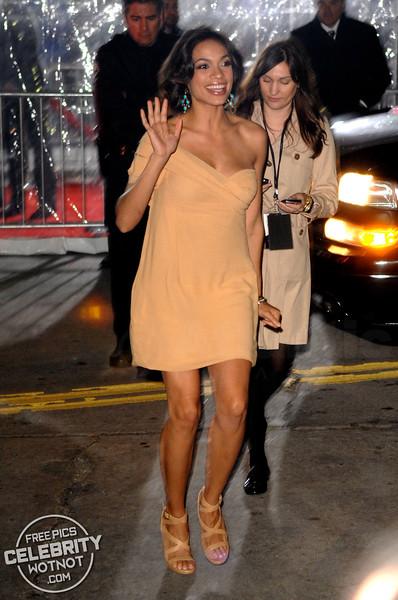 Rosario Dawson Waves At Fans Wearing Revealing Dress in LA