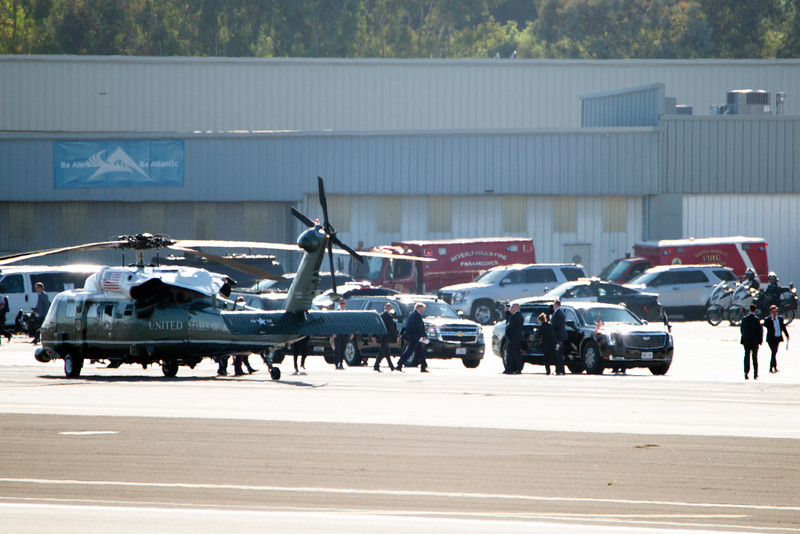 President Trump lands at Santa Monica Airport.
