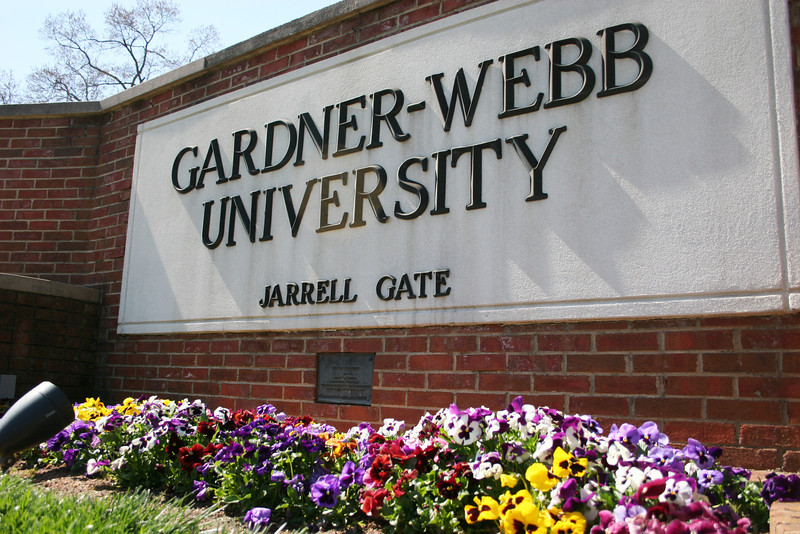 The Jarrell Gate sign at Gardner-Webb University welcoming everyone on a Spring day.
