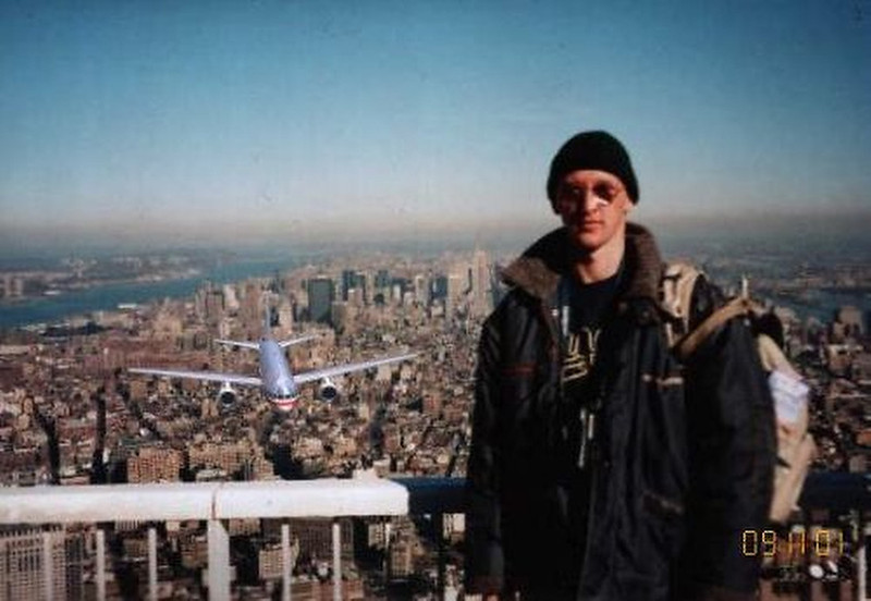 . Soon after 9/11 an image showing a tourist while an airliner was about to hit the building beneath him circulated on the Internet. It was claimed that the picture came from a camera found in the debris at Ground Zero. The picture won a best 9/11 Photoshopped picture contest.  SOURCE: http://www.worldsfamousphotos.com/tag/fake