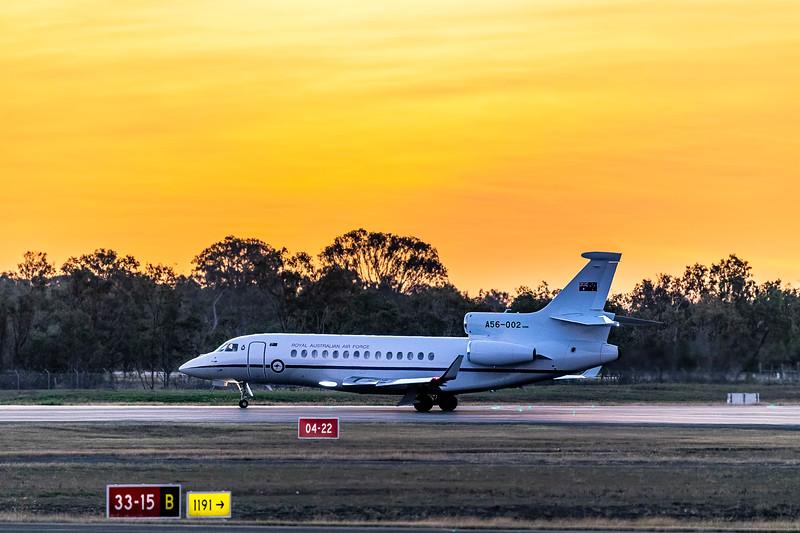 Royal Australian Air Force Dassault Falcon 7x A56-002 departing Rockhampton Airport during Talisman Sabre 2019.