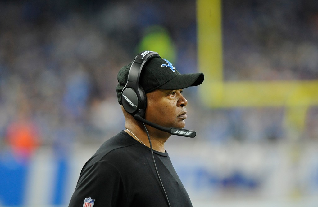 . Detroit Lions head coach Jim Caldwell watches from the sidelines during the first half of an NFL football game against the Cleveland Browns, Sunday, Nov. 12, 2017, in Detroit. (AP Photo/Jose Juarez)
