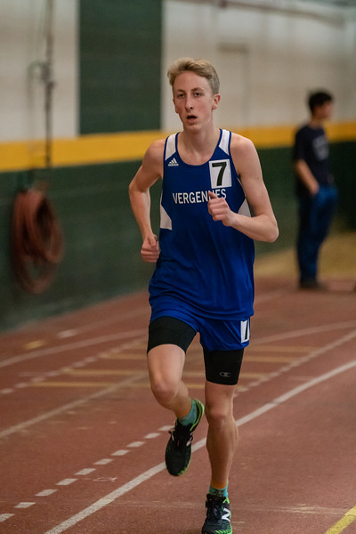 Junior Gabe Praamsma running in the 1500. Gabe placed 7th with a time of 4:44.40.  Vermont Division II Indoor Track State Championships - UVM Gutterson Field House - 2/16/2020/2020