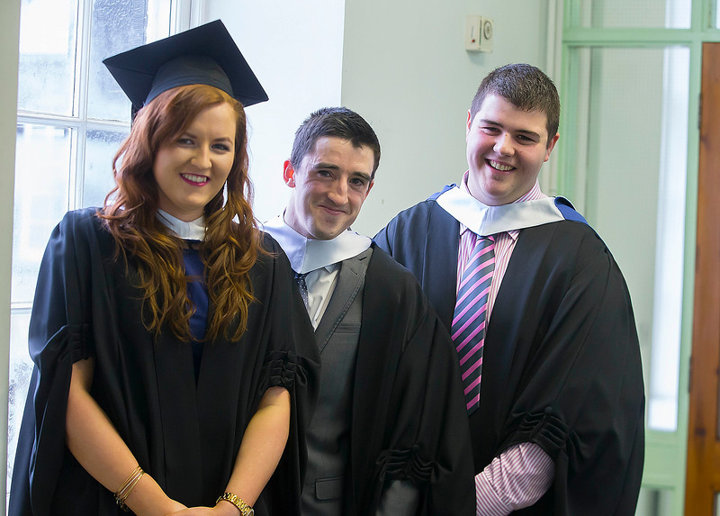 07/01/2015. FREE TO USE IMAGE. WIT (Waterford Institute of Technology) Conferring, Pictured are Laura Collins, Tipperary, Colm Dillon, Limerick and Stuart Graham, Carlow who graduated in Bachelor of Science in Food Science with Business. Picture: Patrick Browne