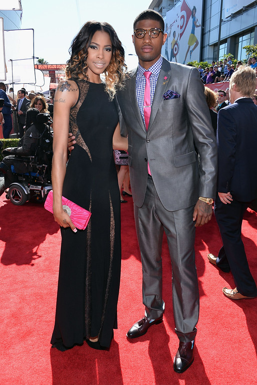 . (R-L) NBA player Paul George and guest attend The 2013 ESPY Awards at Nokia Theatre L.A. Live on July 17, 2013 in Los Angeles, California.  (Photo by Alberto E. Rodriguez/Getty Images for ESPY)