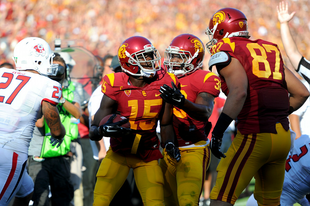 . USC WR Nelson Agholor (#15) celebrates his first-quarter touchdown reception against Fresno State, Saturday, August 30, 2014, at the L.A. Memorial Coliseum. (Photo by Michael Owen Baker/Los Angeles Daily News)