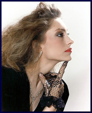 Model profile on white background, 1986