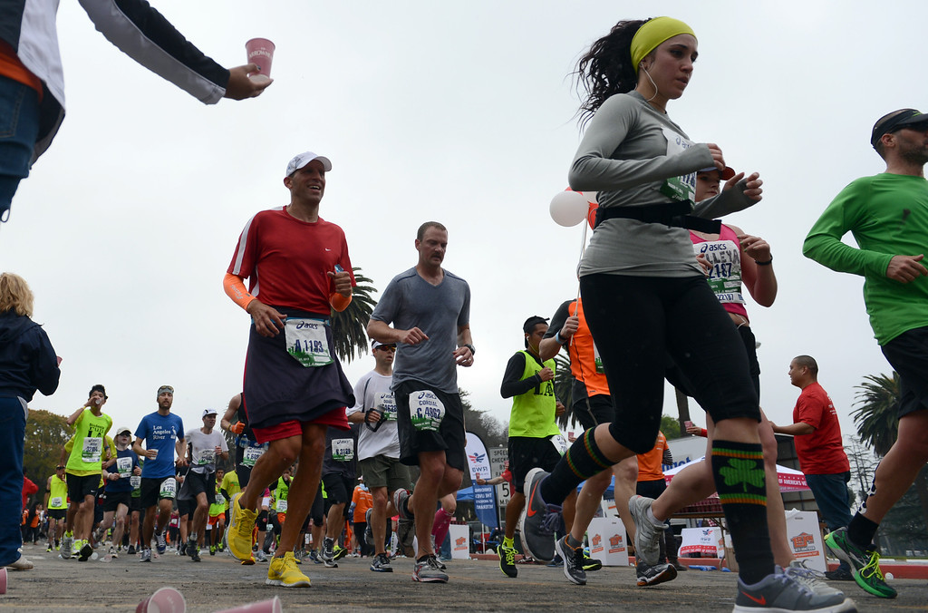 . Runners comes through mile 22 in the L.A. Marathon in Los Angeles March 17, 2013. (Thomas R. Cordova/Staff Photographer)