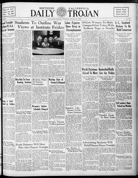 Daily Trojan, Vol. 25, No. 82, February 21, 1934