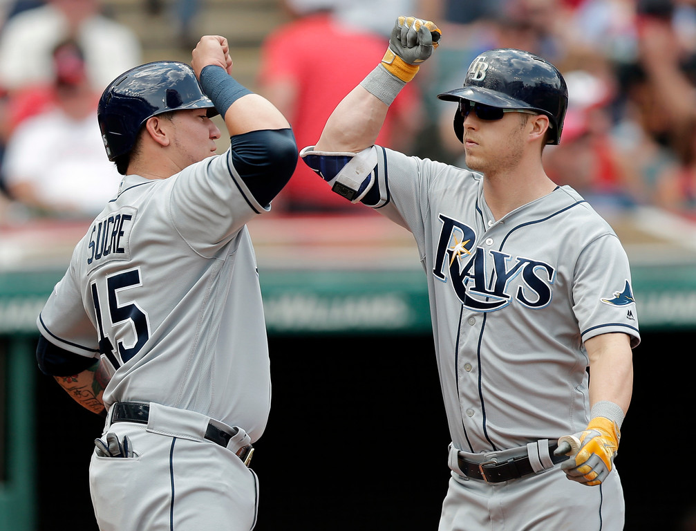 . Tampa Bay Rays\' Corey Dickerson, right, is congratulated by Jesus Sucre after Dickerson hit a three-run home run off Cleveland Indians starting pitcher Josh Tomlin in the second inning of a baseball game, Wednesday, May 17, 2017, in Cleveland. Sucre and Daniel Robertson scored on the play. (AP Photo/Tony Dejak)