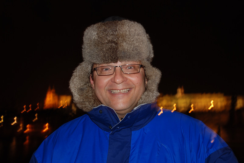 Tony Near the Water at Night in Prague 1.JPG