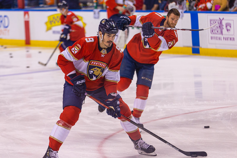 Panthers forward Brian Boyle (#9) and Jonathan Huberdeau (#11) skate during the pregame warmup at the BB&T Center on Thursday, January 9, 2020, where the Panthers hosted the Vancouver Canucks. The Panthers would go on to beat the Canucks 5-2. [JOSEPH FORZANO/palmbeachpost.com]