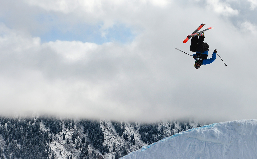 . ASPEN, CO. - JANUARY 27: Nick Goepper got gold in the Ski Slopestyle Men\'s Final, January 27, 2013. The 2013 Winter X Games at Buttermilk Mountain in Aspen. (Photo By RJ Sangosti / The Denver Post)