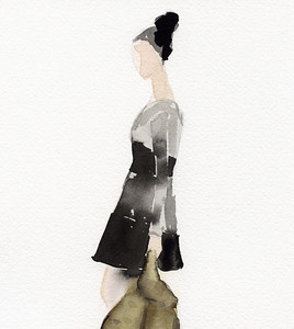 A watercolor fashion illustration of a woman with her hair in a bun, wearing a retro-style black and grey dress, holding a coat.