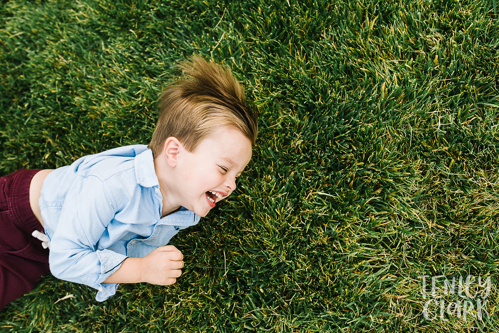Little boy laughing in grass.  Lifestyle in-home family photoshoot in Marin, CA by Tenley Clark Photography.