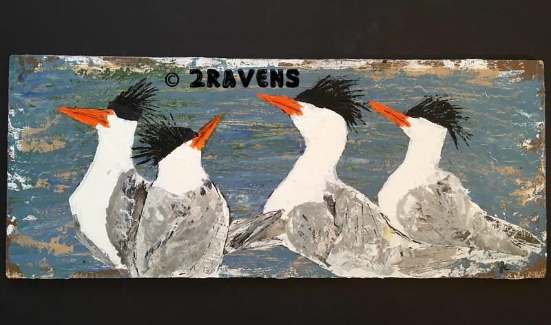 elegant terns, mixed media (collage/acrylic) on wood panel