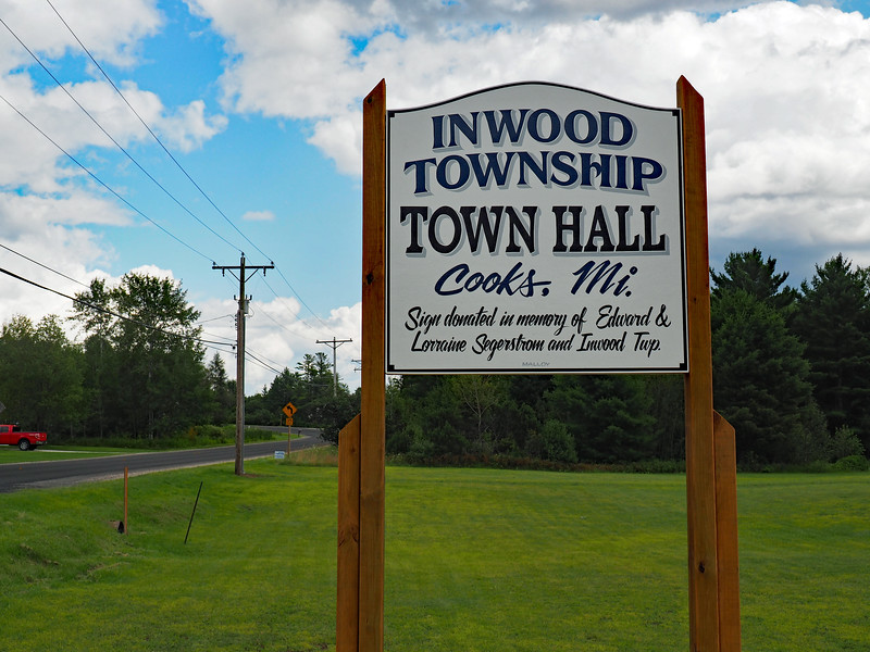 Inwood Township Town Hall sign