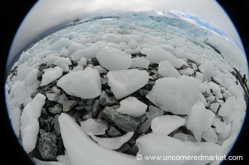 Ice Floes on Land in Fisheye - Antarctica