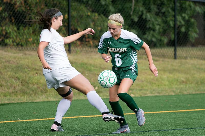 Tyngsboro High School played Oakmont Regional High School on Tuesdsay, September 10, 2019. THS's Abigail Savard and ORHS's Lindsay Leblanc. SENTINEL & ENTERPRISE/JOHN LOVE